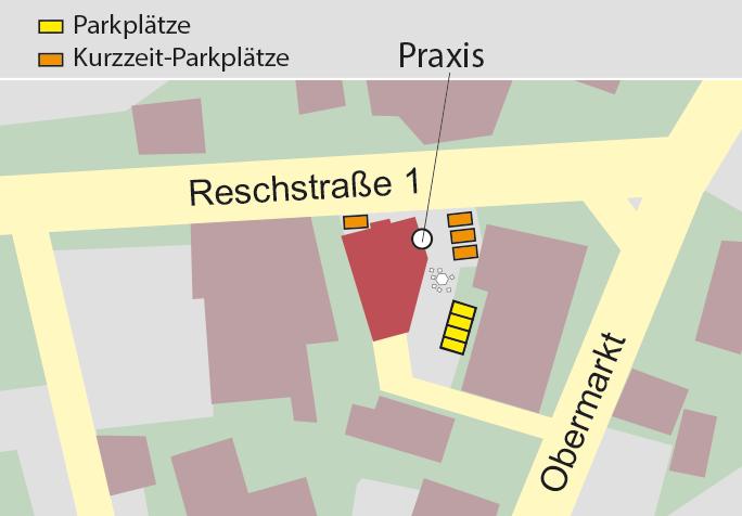 Parkplatz für Patienten der Kinderarztpraxis